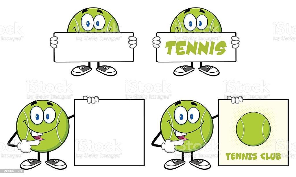 Collection of Tennis Ball Mascot - 4 vector art illustration