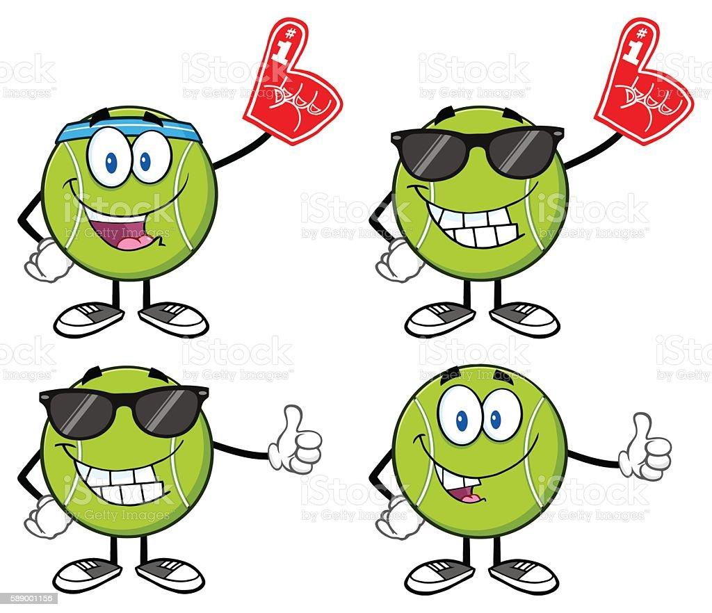 Collection of Tennis Ball Mascot - 5 vector art illustration
