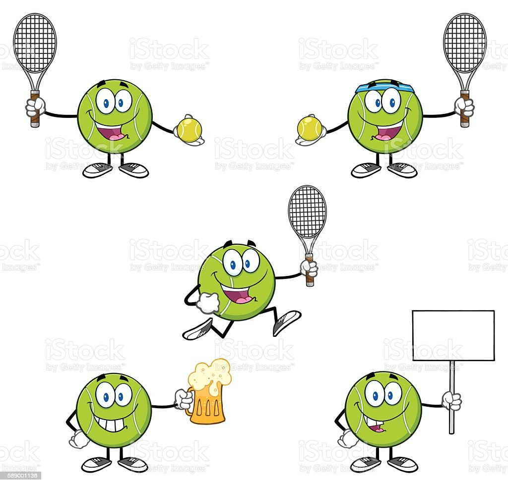 Collection of Tennis Ball Mascot - 6 vector art illustration