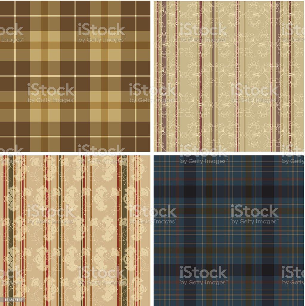 Collection of textile wallpapers royalty-free stock vector art