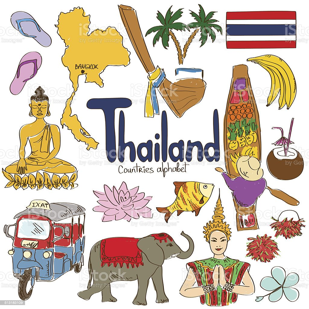 Collection of Thailand icons vector art illustration