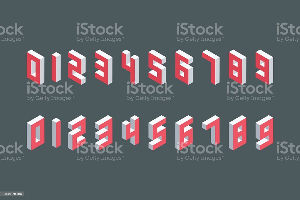 Collection of the isometric numbers. Three-Dimensional elements. vector art illustration