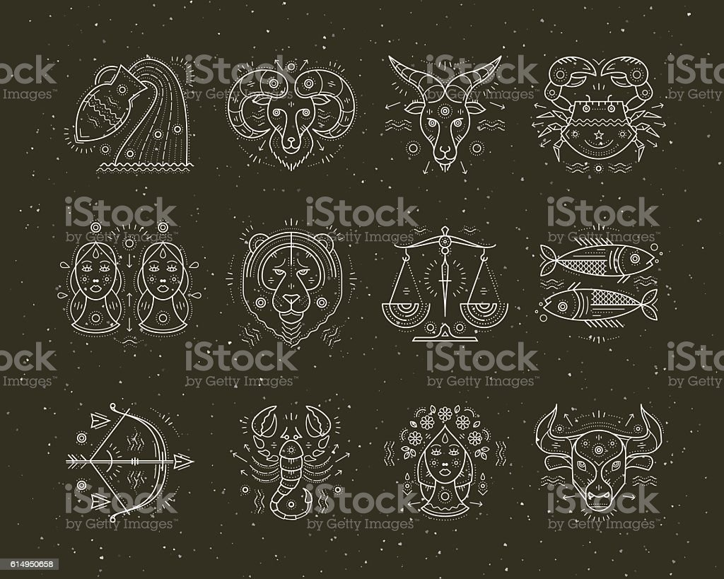 Collection of thin line astrology and zodiac symbols. vector art illustration