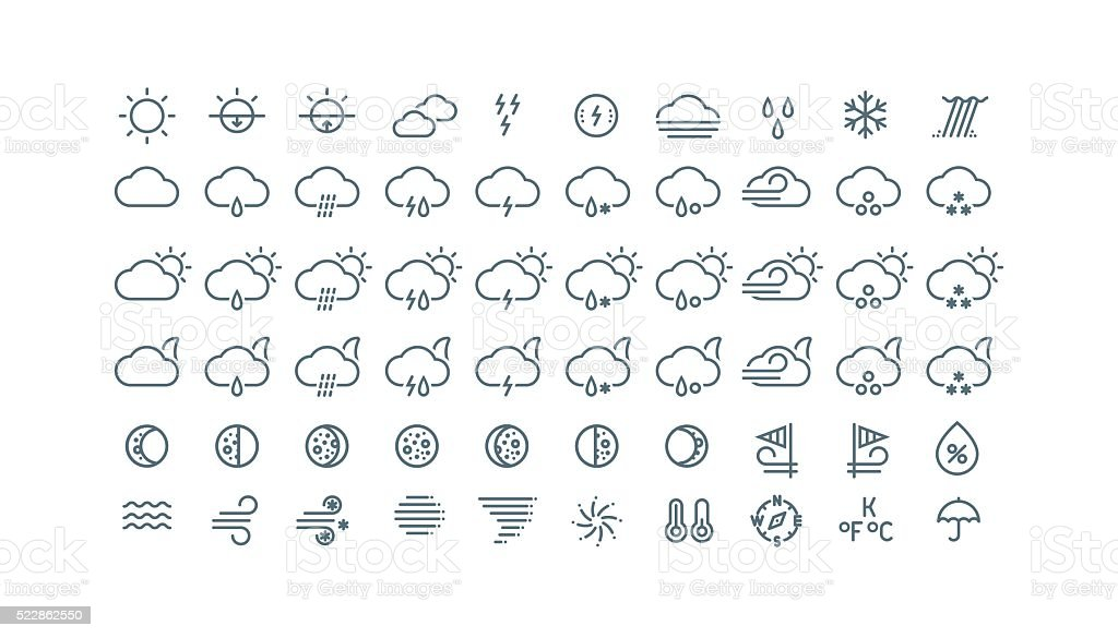 Collection of thin line weather icons isolated on white background. vector art illustration