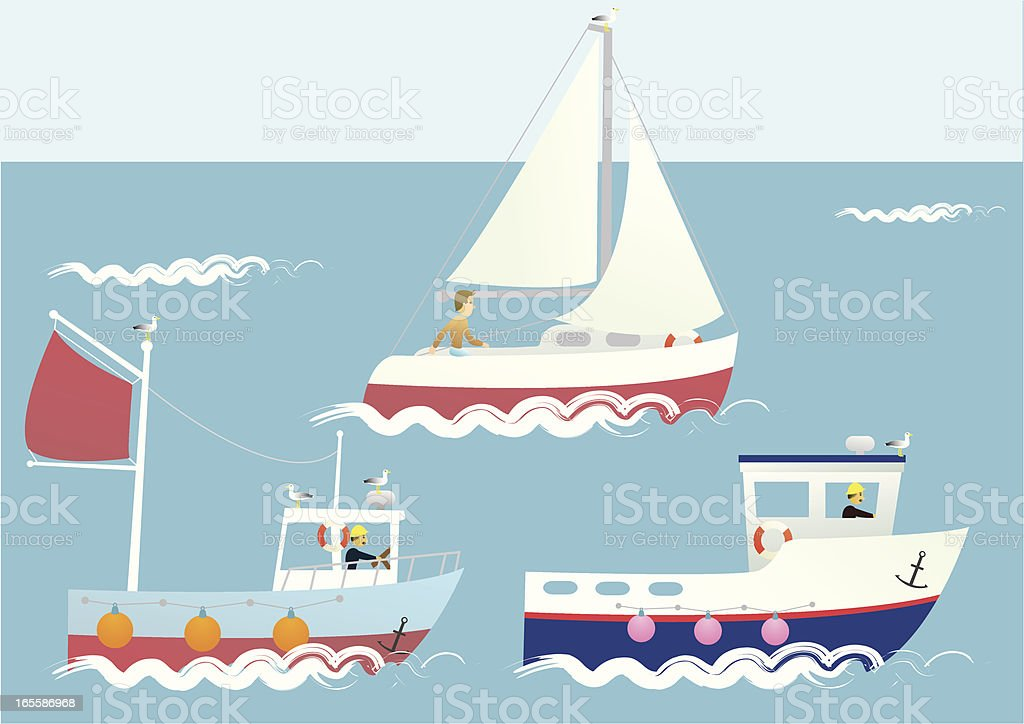 Collection of three different boat illustrations vector art illustration