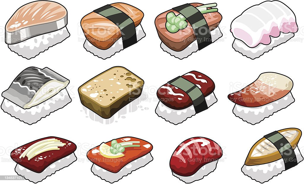 Collection of tofu and salmon sushi (vector) royalty-free stock vector art