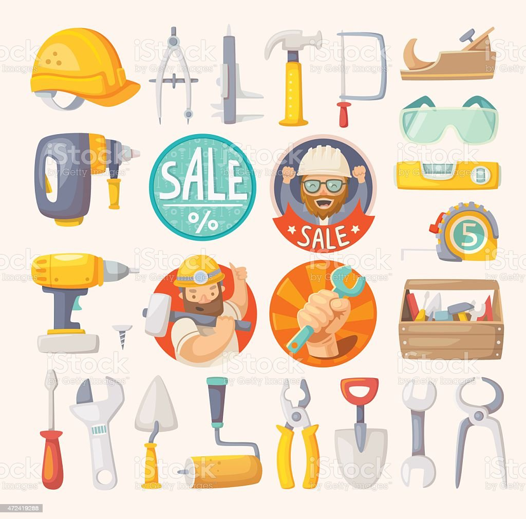 Collection of tools for house remodeling vector art illustration