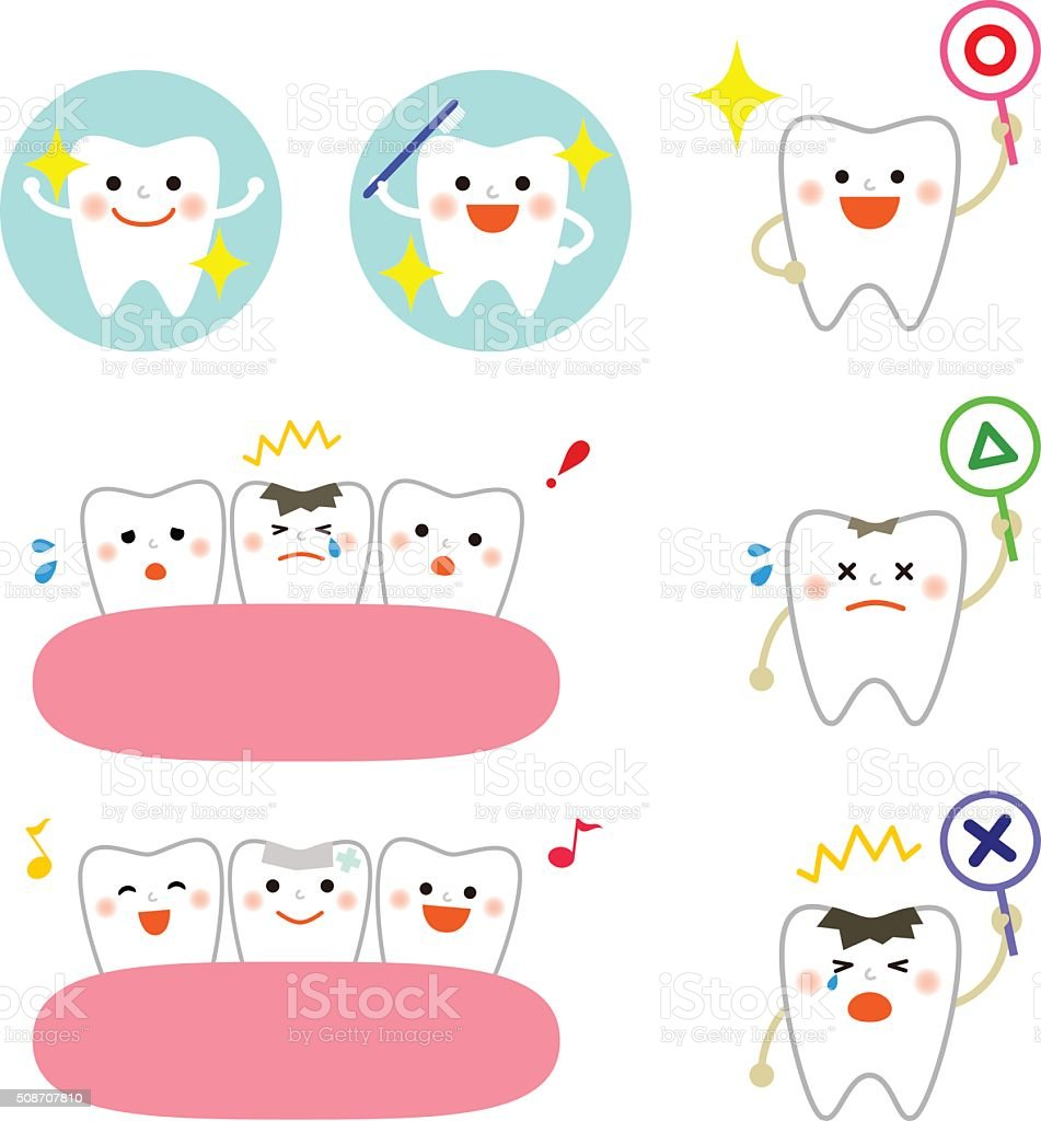 collection of tooth icons vector art illustration