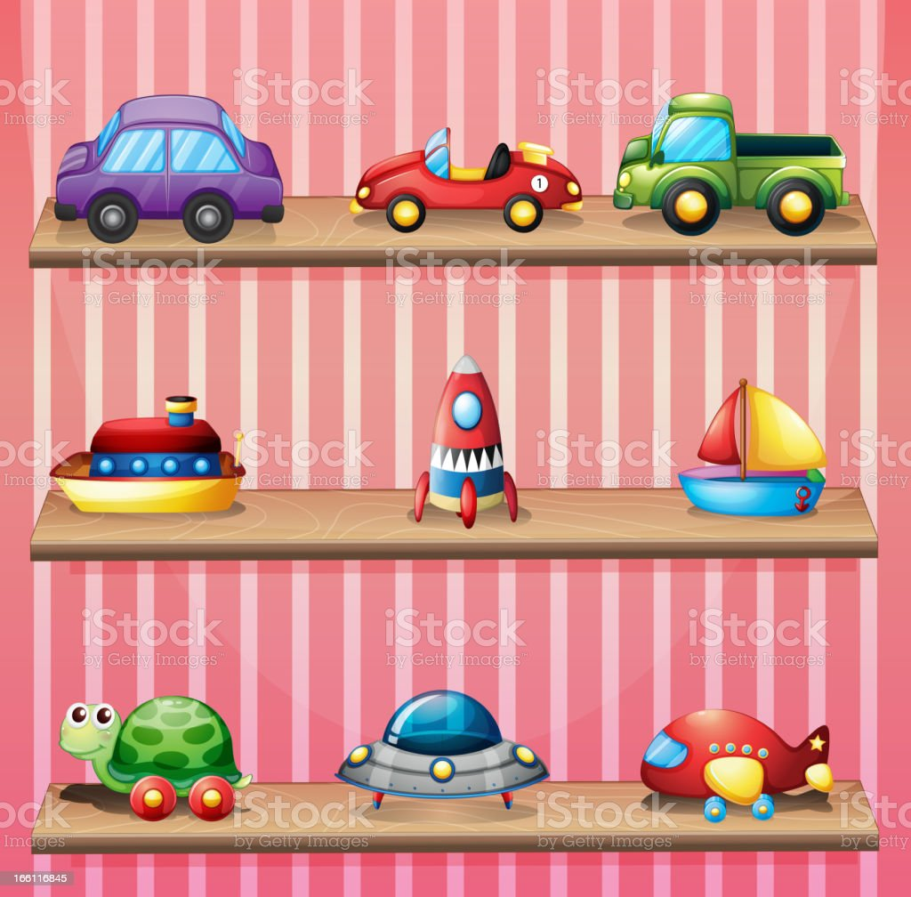 Collection of toys vector art illustration