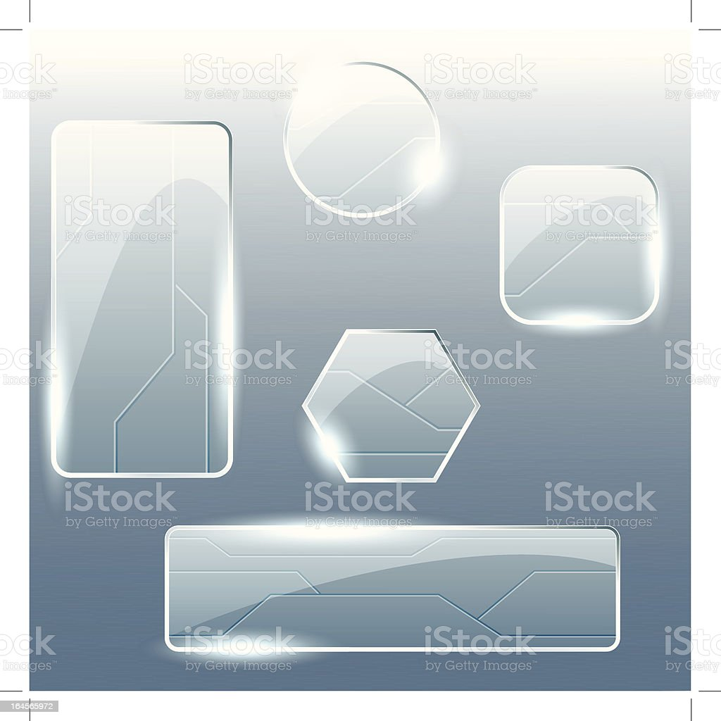 Collection of transparent glass banners vector art illustration