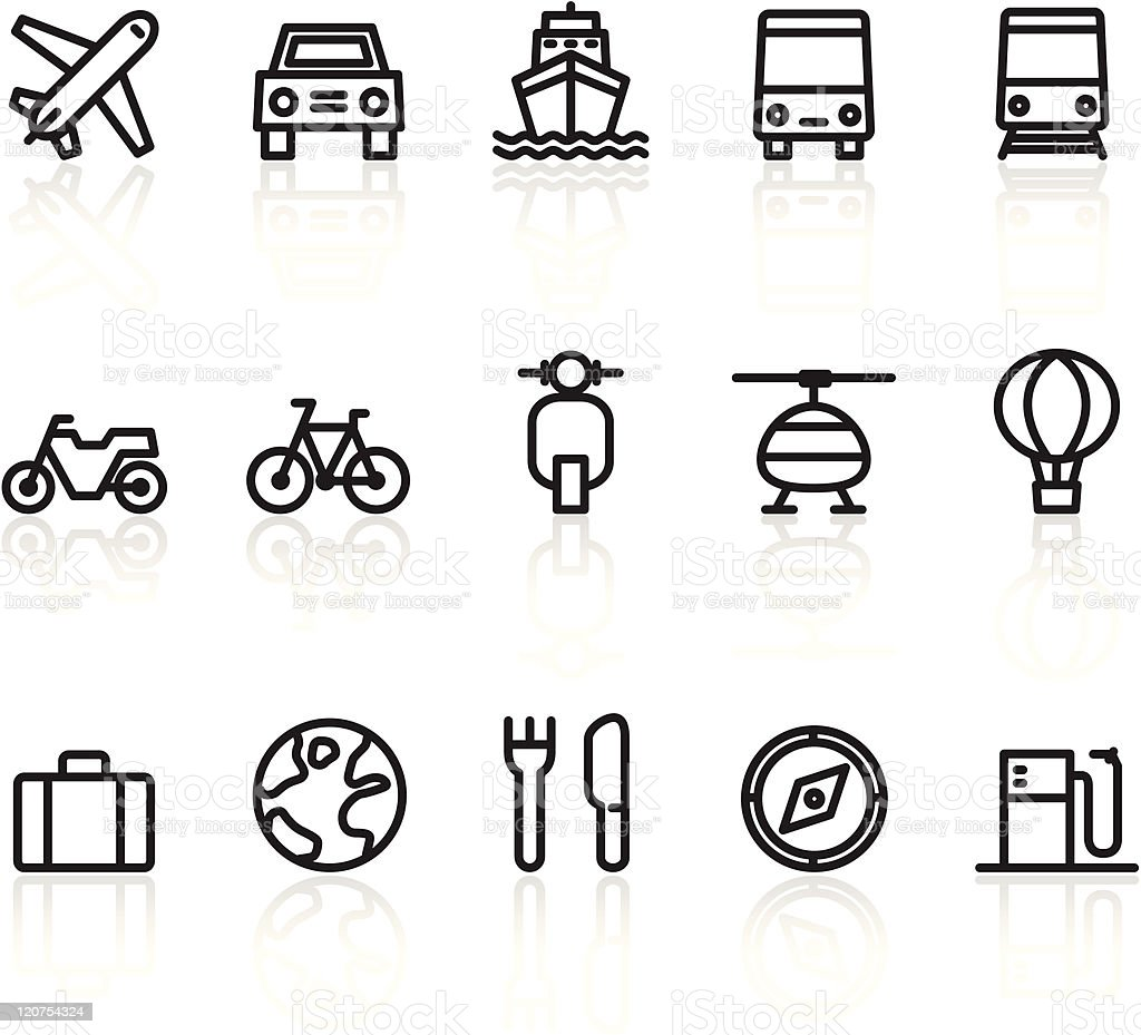 Collection of travel and transport icons royalty-free stock vector art