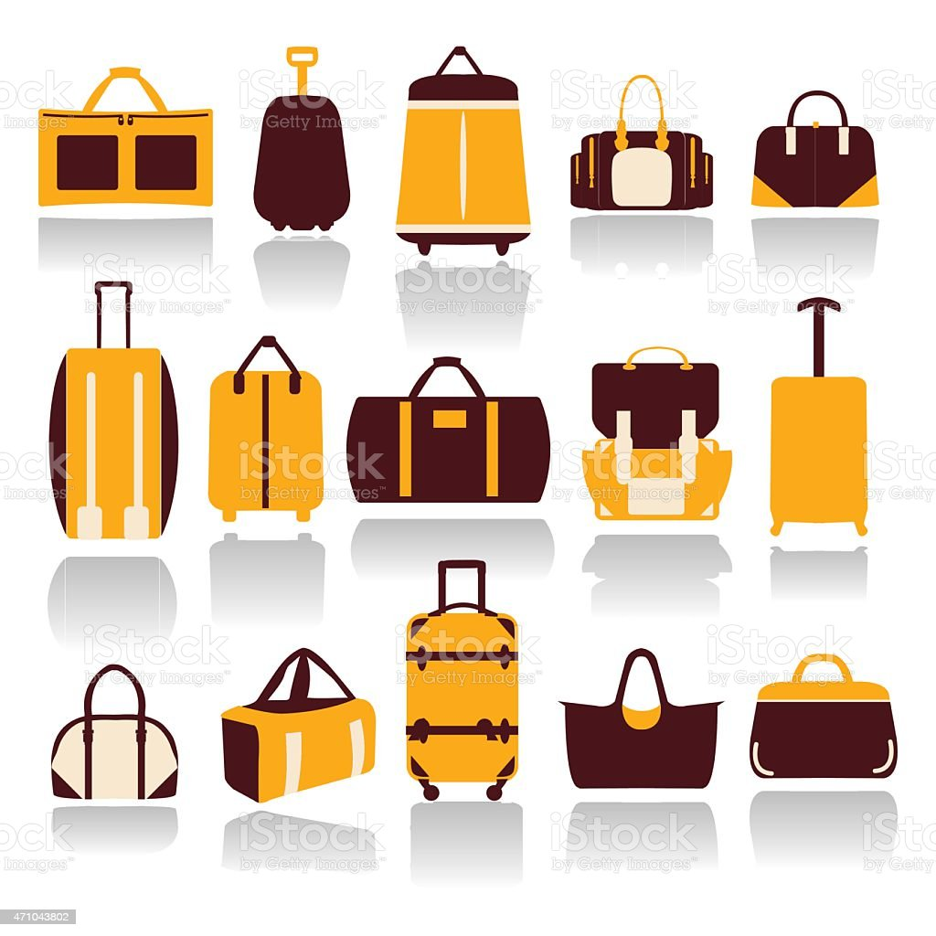 Collection of Travel bags vector art illustration