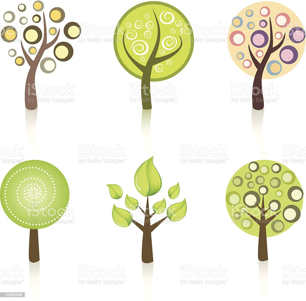 Collection of Trees royalty-free stock vector art