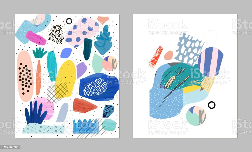 Collection of trendy cards with different shapes and textures vector art illustration