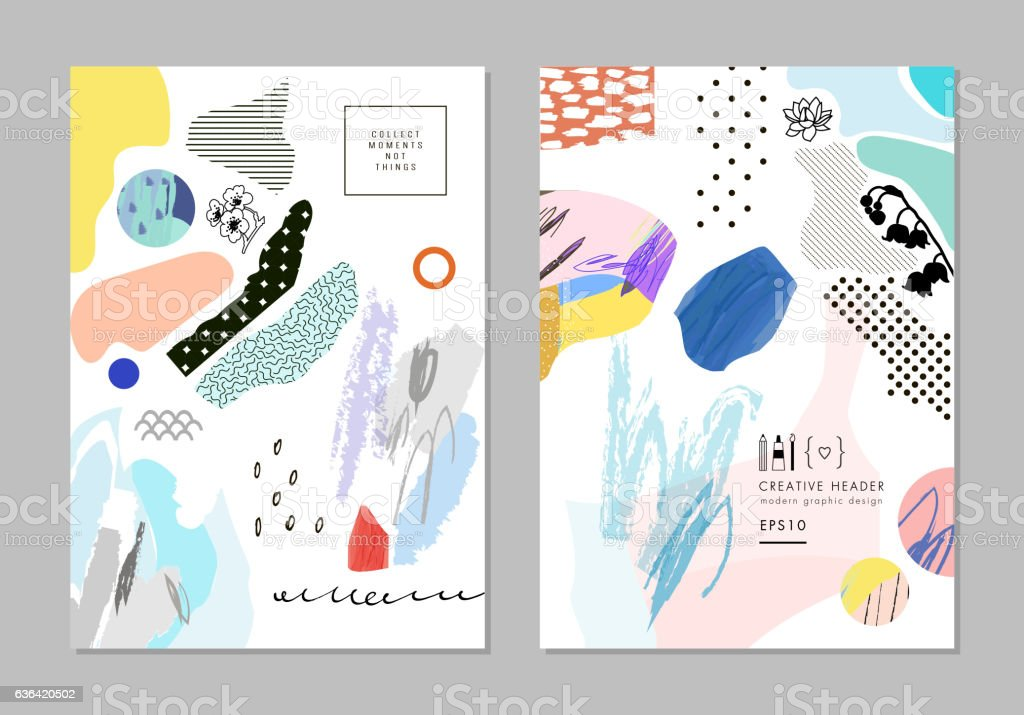 Collection of trendy creative cards vector art illustration