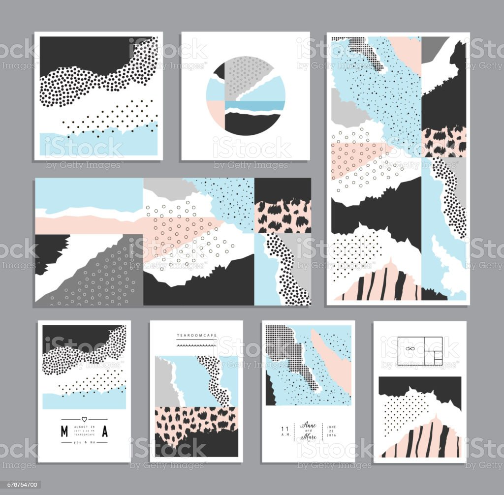 Collection of trendy creative cards with different textures vector art illustration