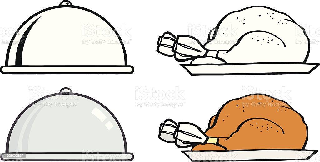 Collection of Turkey in Silver Platter vector art illustration
