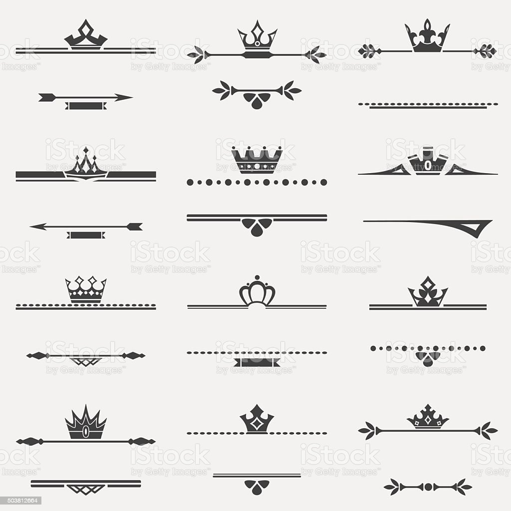 Collection of twelve vector vintage frames with crowns for desig vector art illustration