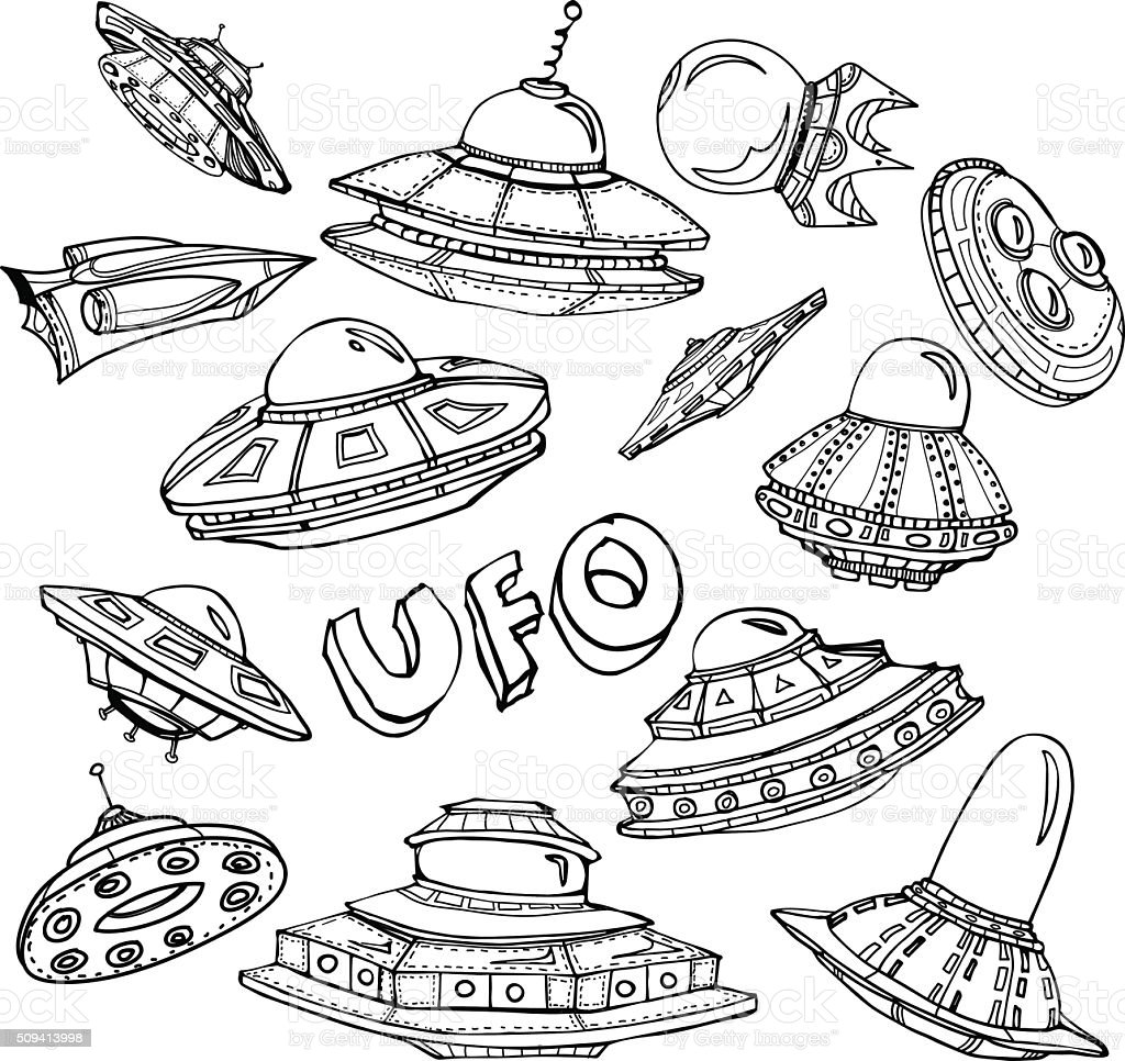 Collection of UFO vector art illustration