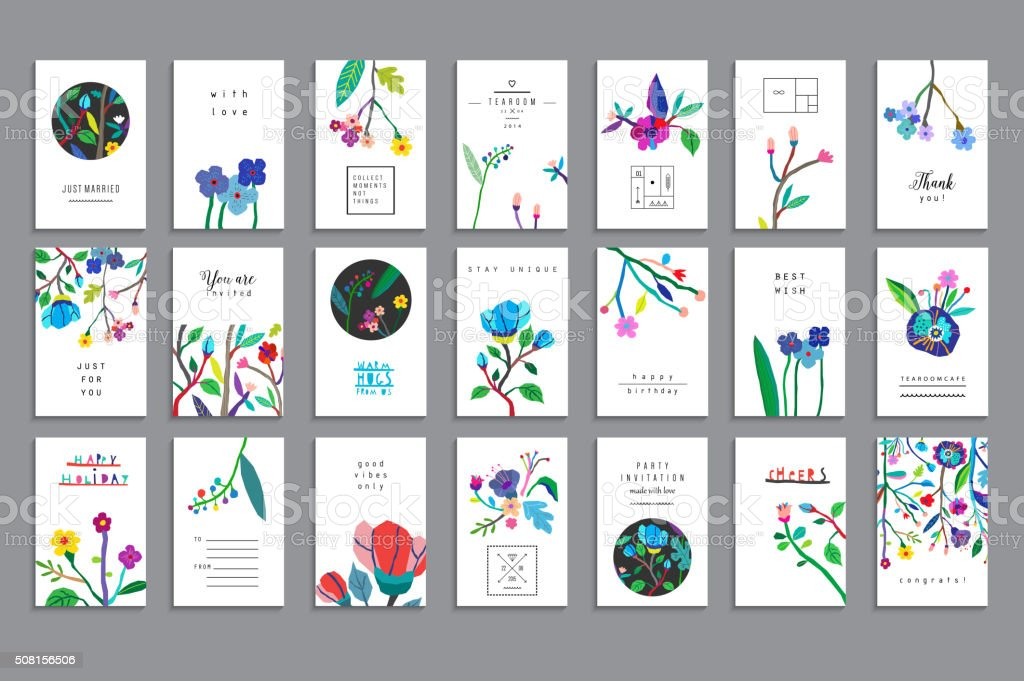 Collection of unusual cards with paper cut flowers vector art illustration