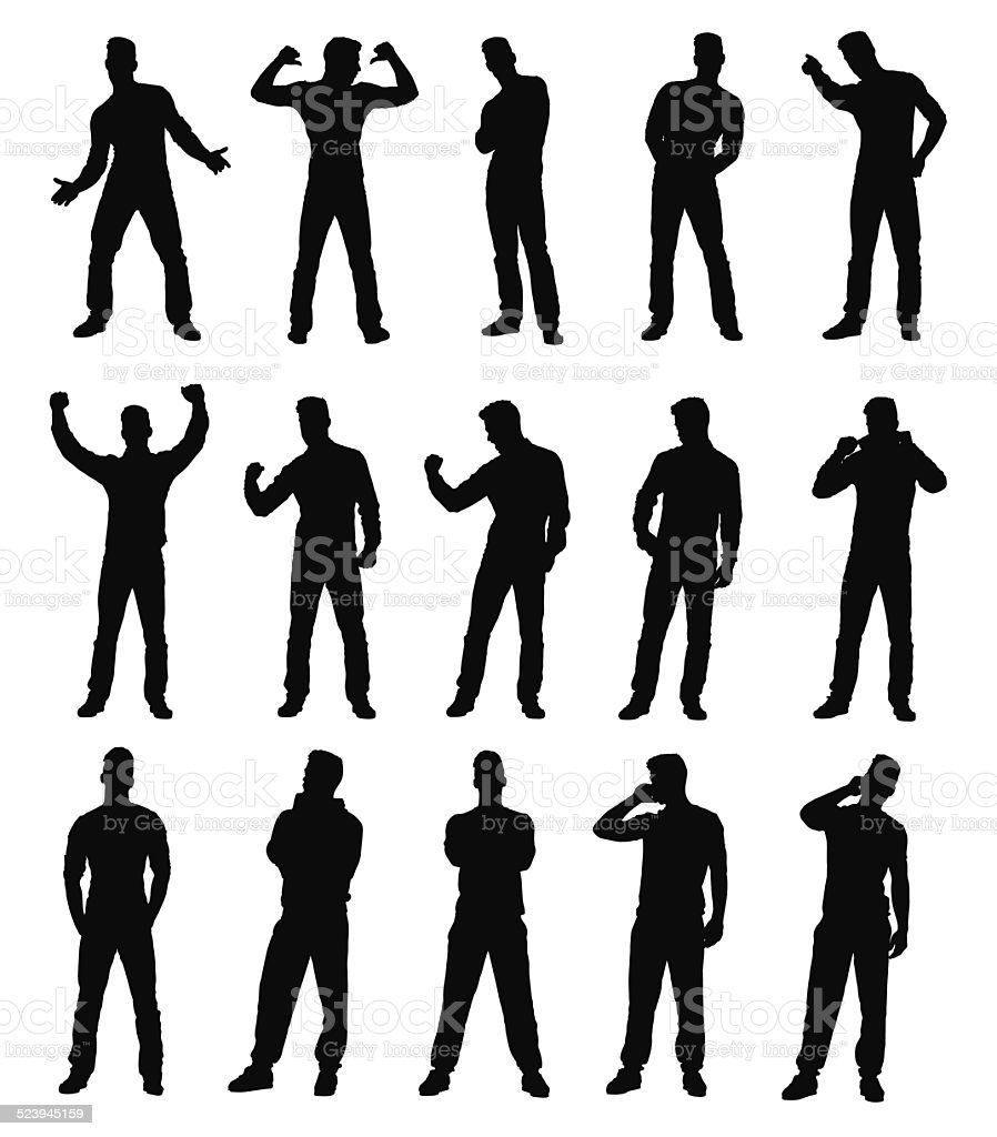 Collection of various man gesture silhouettes vector art illustration
