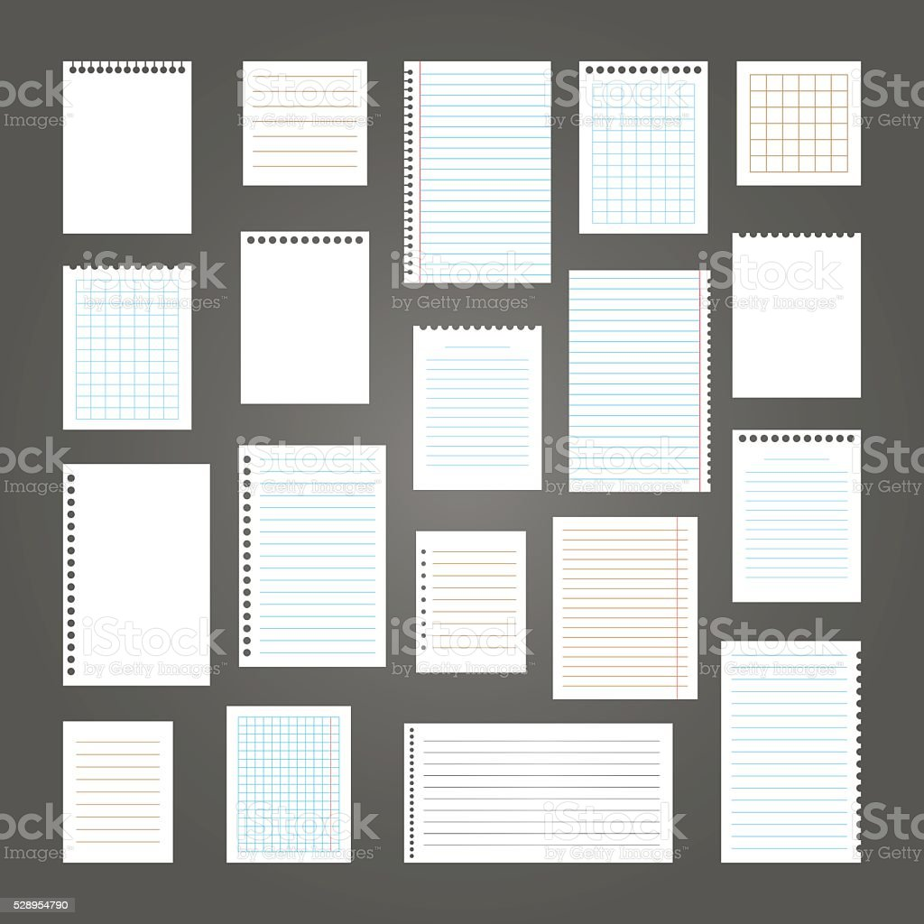 Collection of various note papers for your message vector art illustration