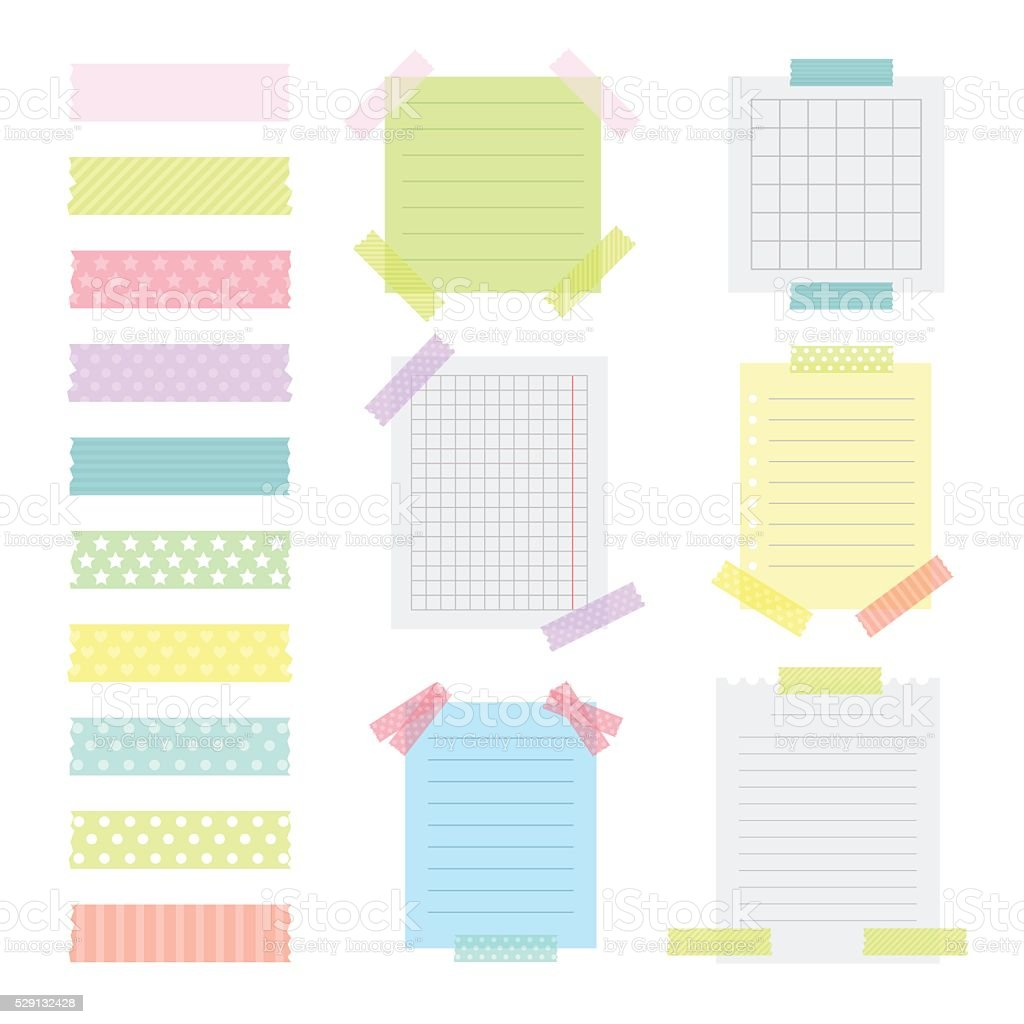 Collection of various note papers with different tape strips vector art illustration