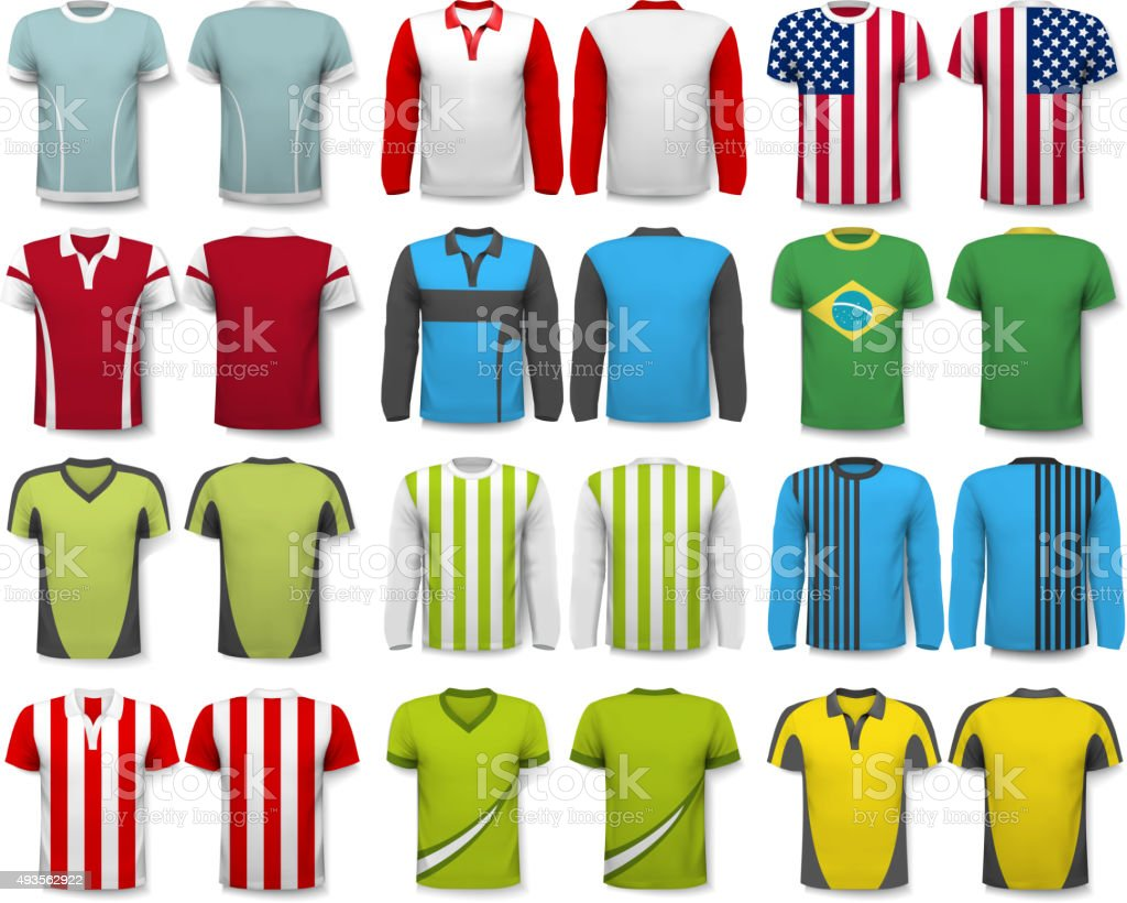 Collection of various shirts. Design template. The t--shirt is t vector art illustration