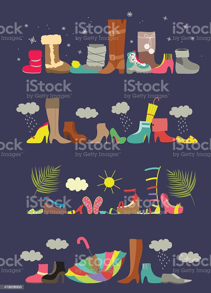 Collection of various shoes. Four seasons vector art illustration