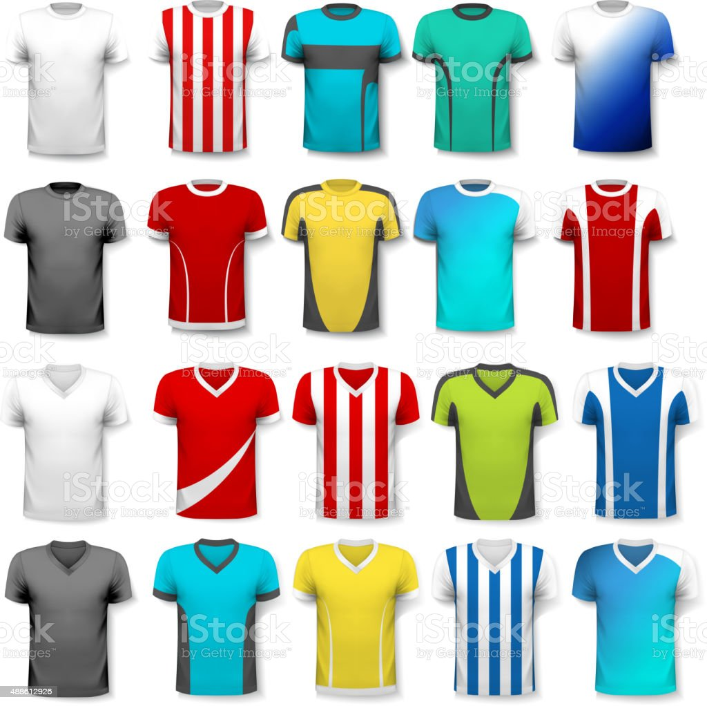 Collection of various soccer jerseys. The T-shirt is transparent vector art illustration