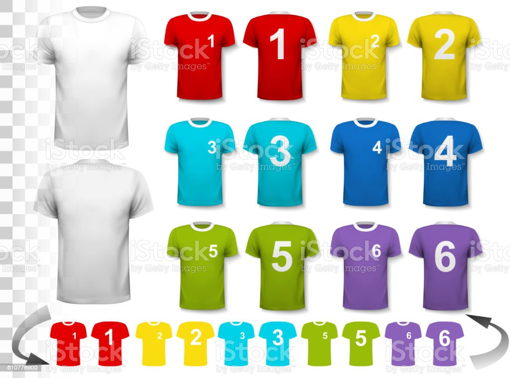 Collection of various soccer jerseys with numbers. The T-shirt i vector art illustration