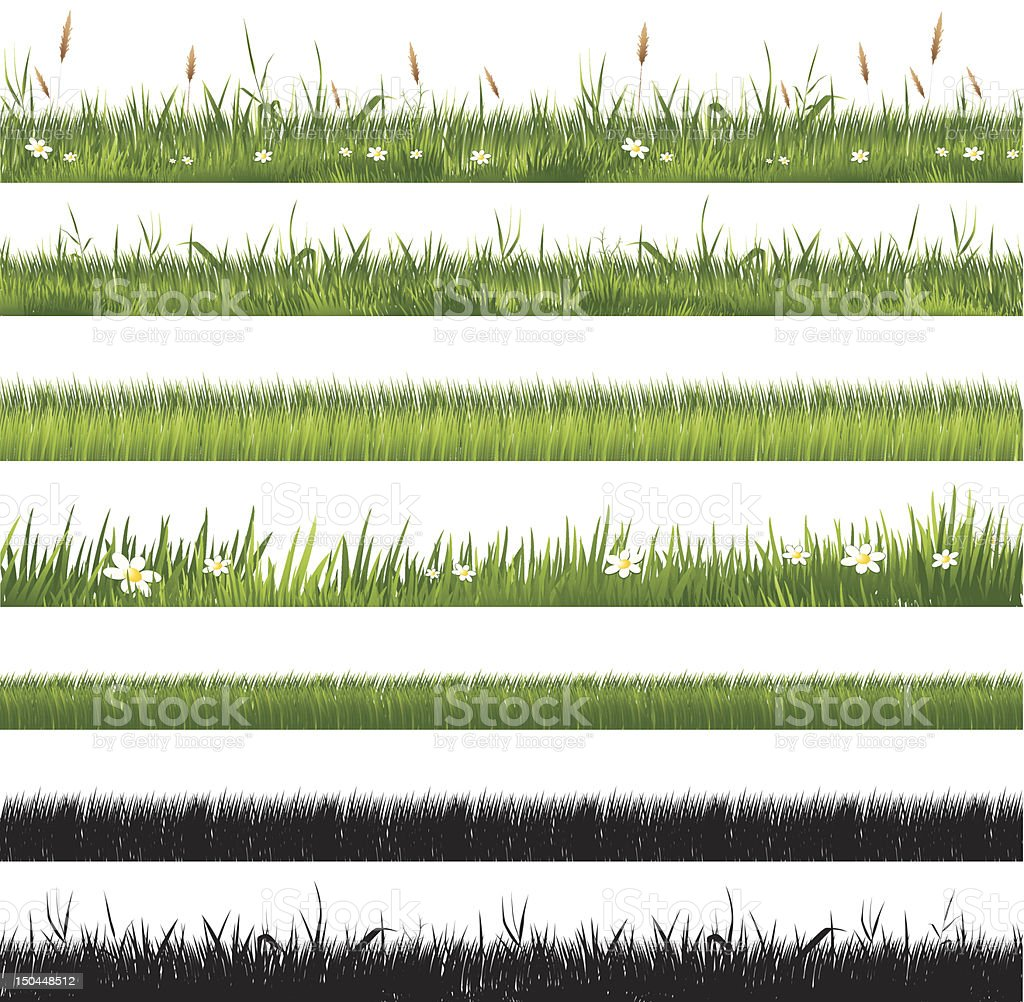 Collection of various styles of grass banners vector art illustration