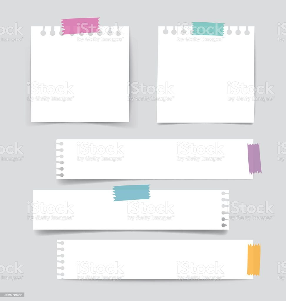 Collection of various white note papers, ready for your message. vector art illustration