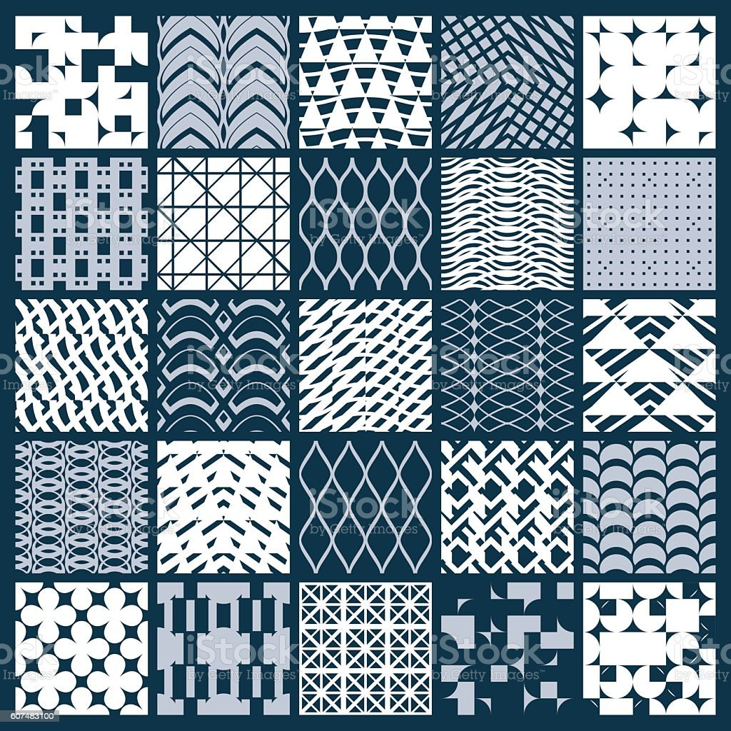 Collection of vector abstract seamless compositions, symmetric vector art illustration