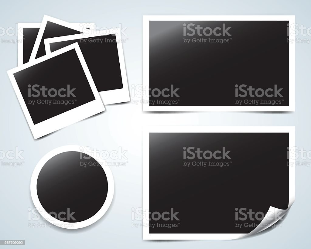 Collection of vector blank photo frames with transparent shadow effects vector art illustration