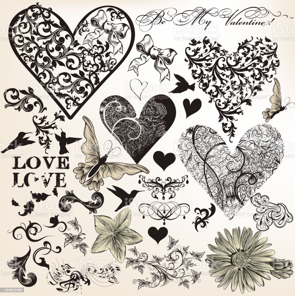 Collection of vector calligraphic elements on love vector art illustration