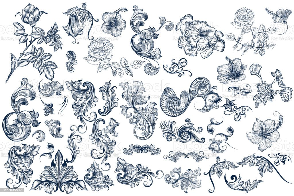 Collection of vector calligraphic flourishes and swirls vector art illustration