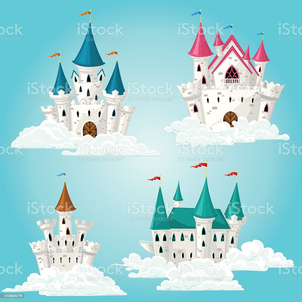Collection of vector cartoon fairytale castle in clouds vector art illustration
