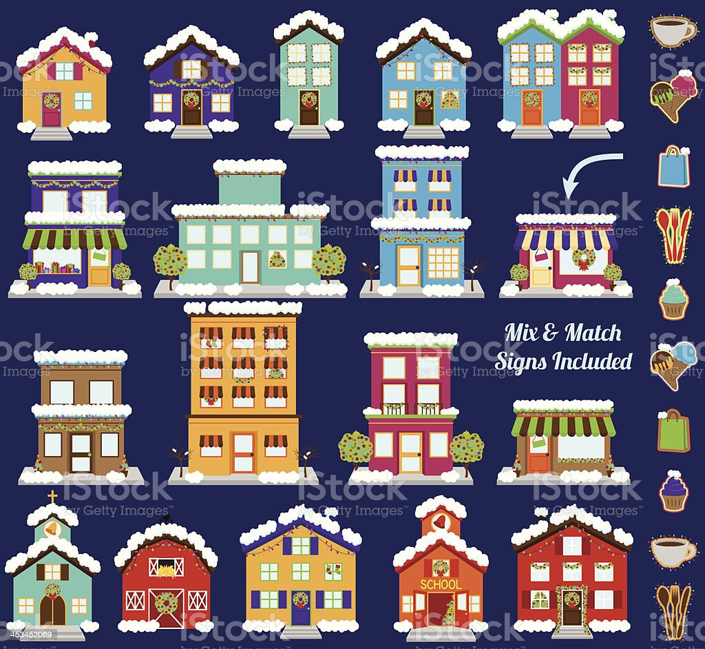 Collection of Vector Christmas or Winter Buildings with Signs vector art illustration