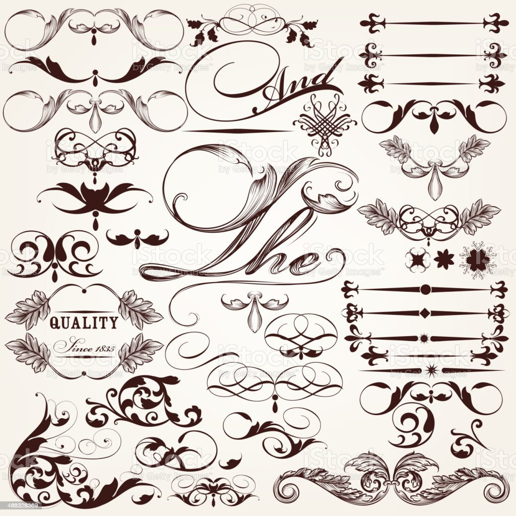 Collection of vector decorative elements and flourishes in vinta royalty-free stock vector art