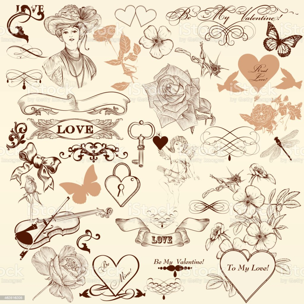 Collection of vector decorative elements in vintage style royalty-free stock vector art