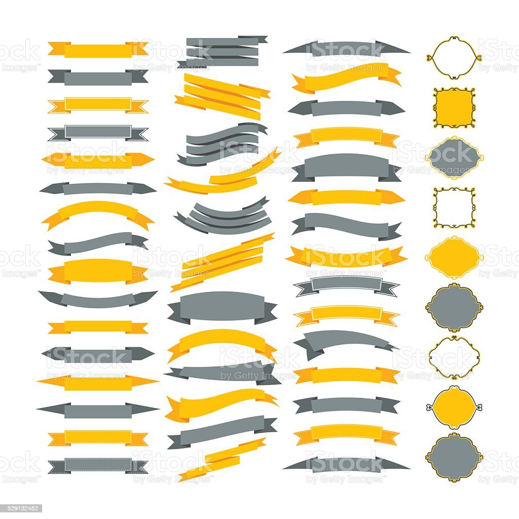 Collection of vector design elements. Big set of frames vector art illustration