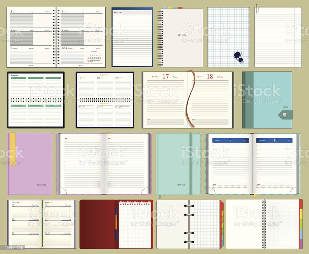 collection of vector diarys and notebooks vector art illustration