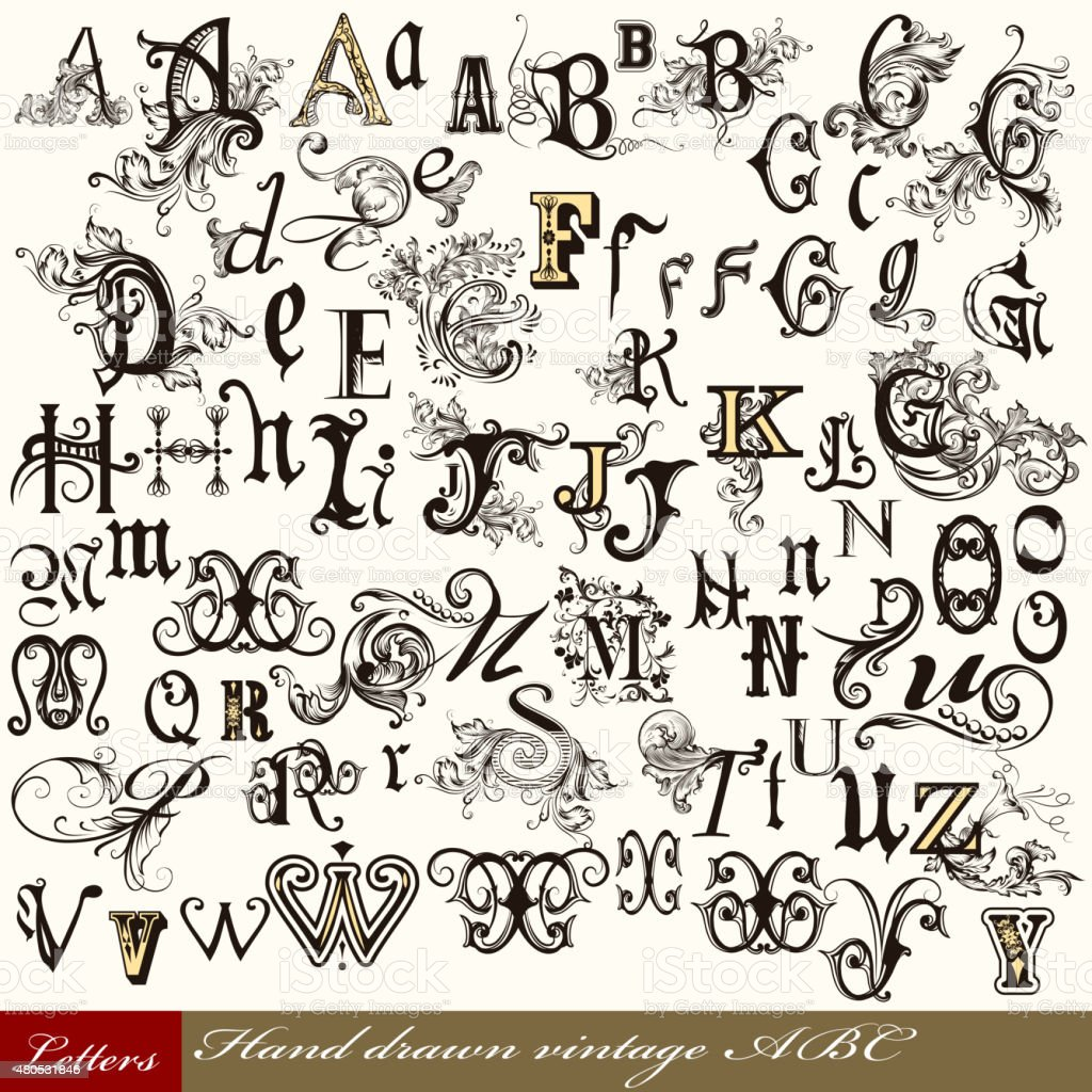 Collection of vector English ABC in vintage style with swirls vector art illustration