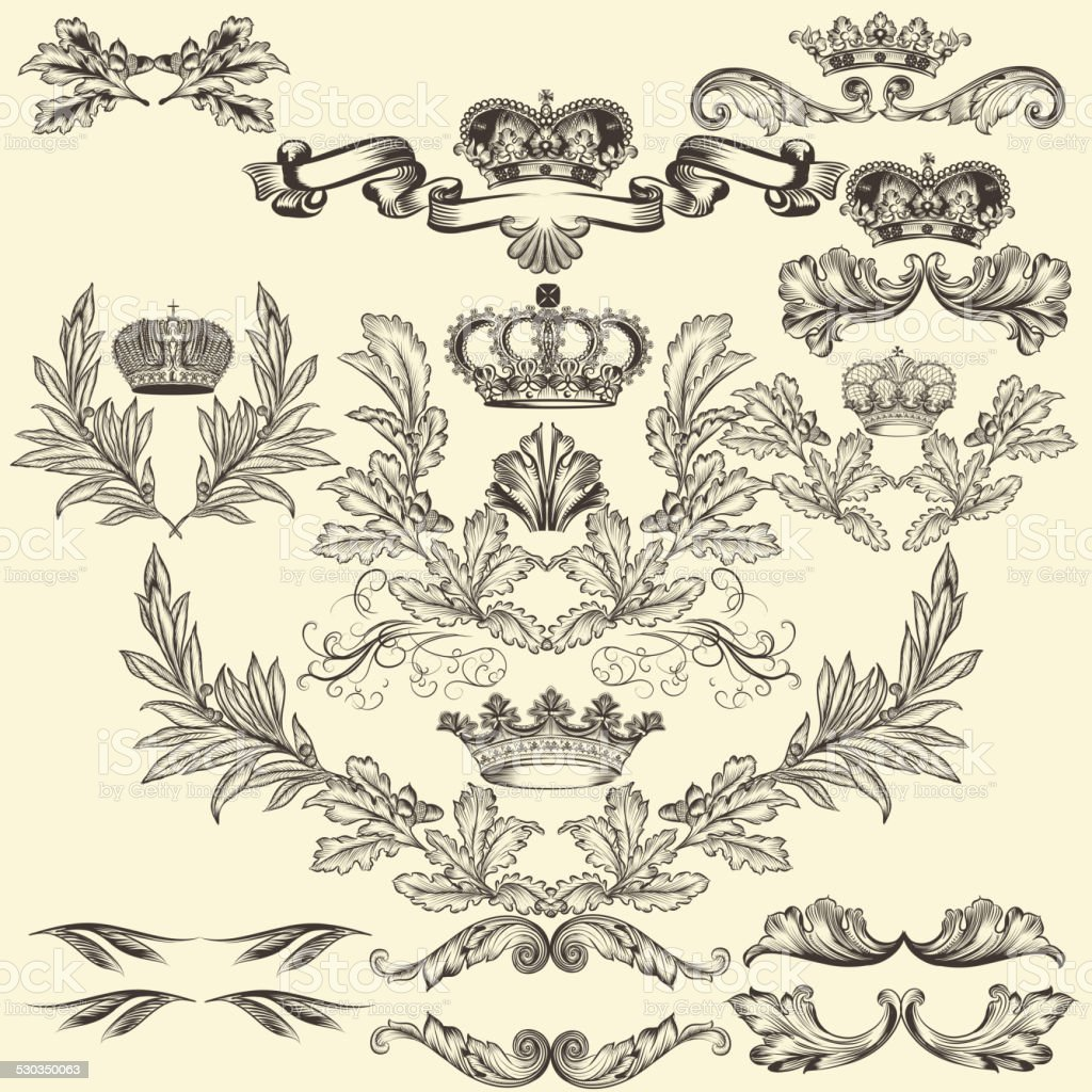 Collection of vector frames with crowns and  coat of arms vector art illustration