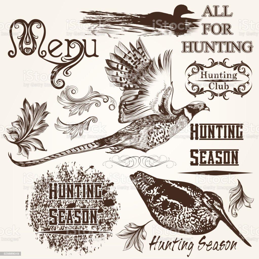 Collection of vector hand drawn animals hunting season design vector art illustration