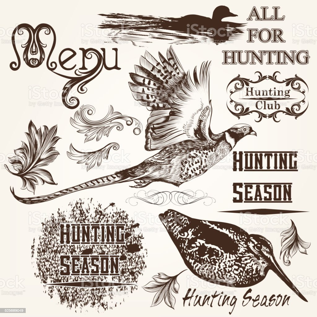 Collection of vector hand drawn animals hunting season design vector art illustration