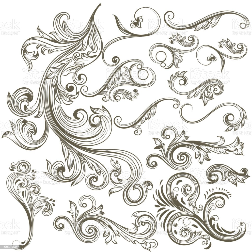Collection of vector hand drawn floral swirls for design vector art illustration