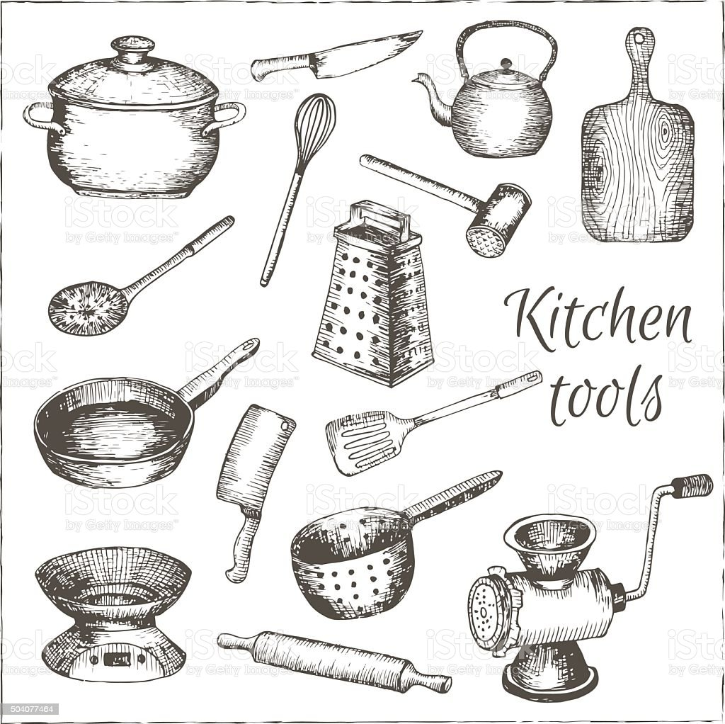 Collection of  vector hand drawn kitchen tools. vector art illustration