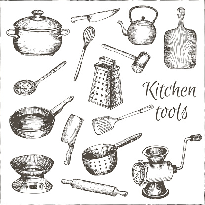 Frying pan clip art vector images illustrations istock for Antique kitchen utensils identification